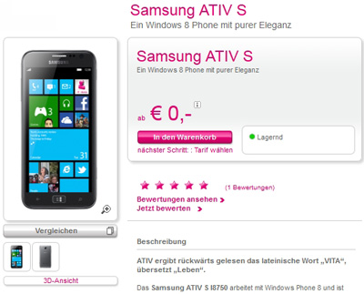 T-Mobile Austria Releases Samsung Ativ S Windows Phone 8 Smartphone