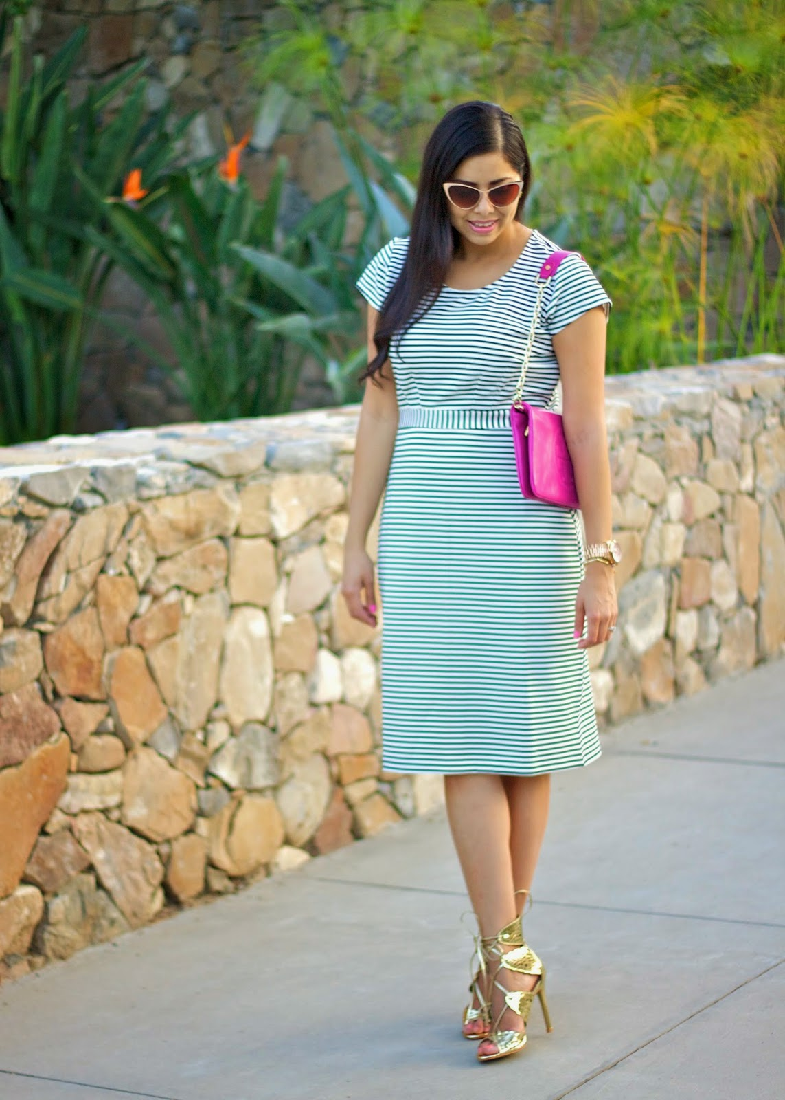 Corner Office Dress from DownEast Basics, guest stylist for DownEast Basics, striped midi dress, striped dress ootd, ootd, ootn