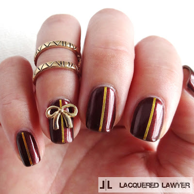 Burgundy and Bows Nail Art