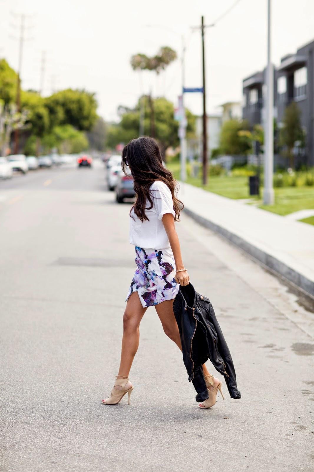 asymmetrical skirt, how to wear envelope skirt, spring fashion, watercolor print skirt