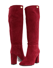 stacked heel knee high red suede boots