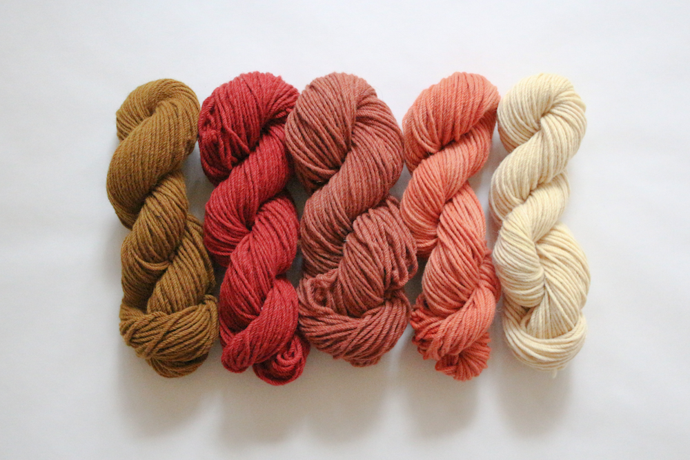 Natural eucalyptus dyed merino wool yarn by Belinda Evans of Alchemy