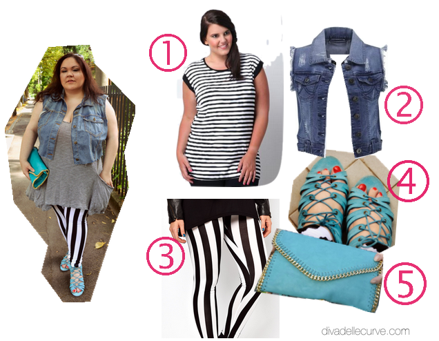 outfit plus size righe su righe divadellecurve.com