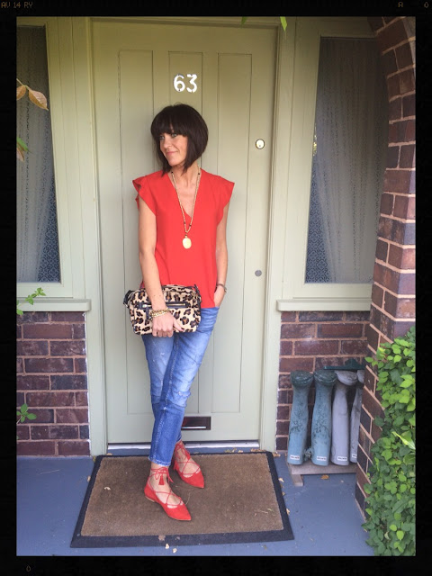 My Midlife Fashion, Ruffled Sleeve Top, Leopard Print, Animal Print, Distressed Denim, Office Ghillie Lace Up Points, Boden, Zara