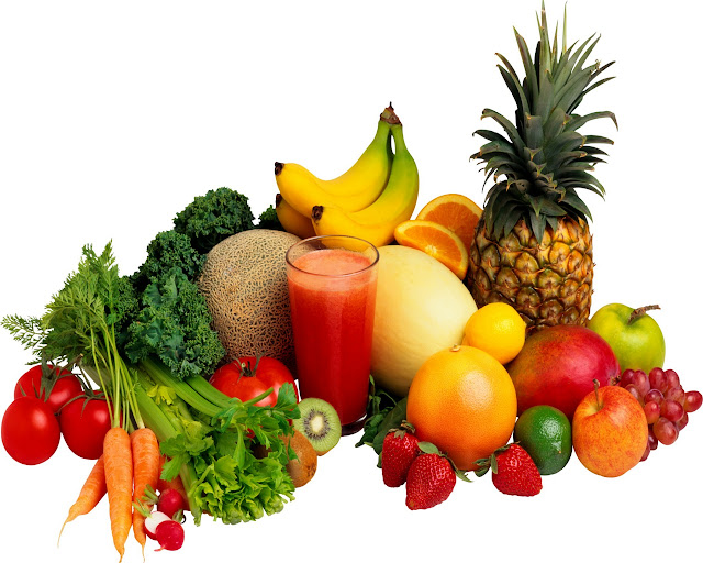 fresh raw fruits and vegetables with juice
