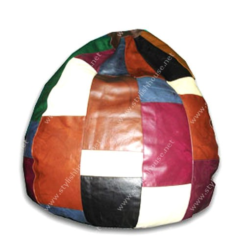 Multi-colored leather bean bag seat