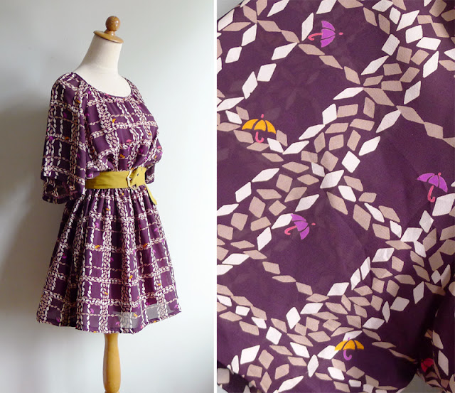 vintage novelty print geometric dress
