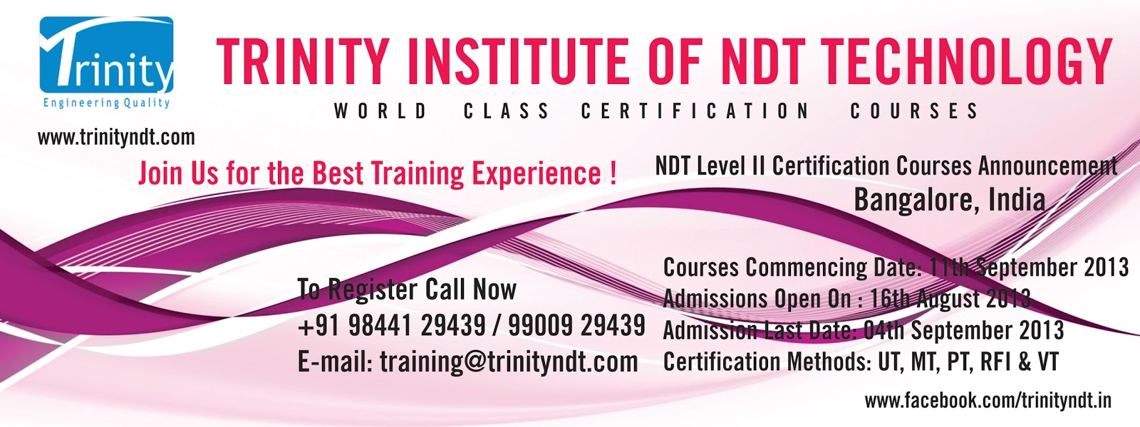 short ndt certification courses for mechanical engineers 11th september 2013 at trinity ndt international training centre bangalore india