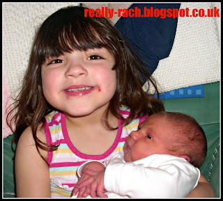 Really Rachel My daughter aged 4 with her newborn sister