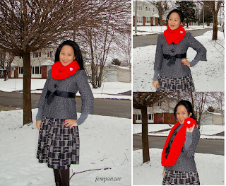 Red Flower Stitch Infinity Scarf