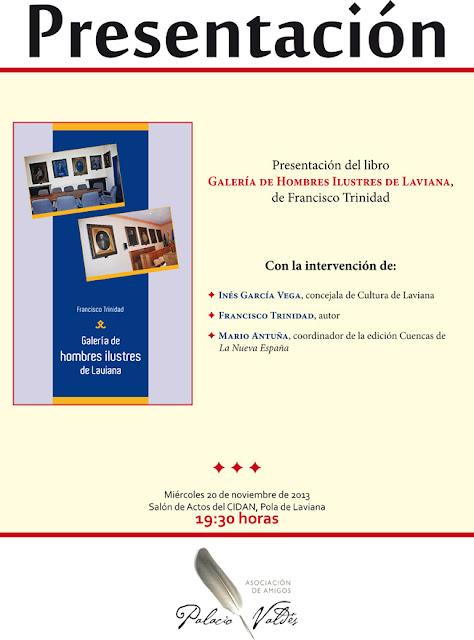 Cartel libro Galería de Hombres Ilustres de Laviana, Francisco Trinidad