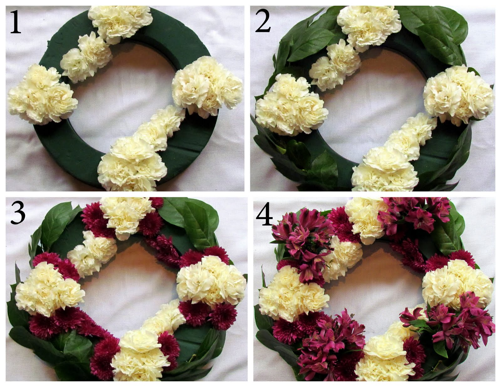 Fresh flower wreathjcs loft the csi project i started by making punches of white carnations around the wreath next i took my greenery and stuck them around the outside of the wreath izmirmasajfo