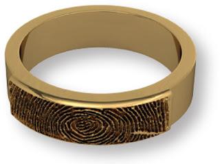 14k Gold Partial Fingerprint Wedding Band