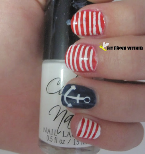 OPI I Saw..Warsaw, and I used a dotting tool and a striper to draw the anchor