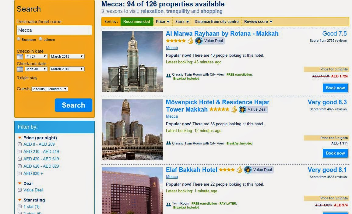How to book hotel in for umrah in saudi arabia for Booking hotels