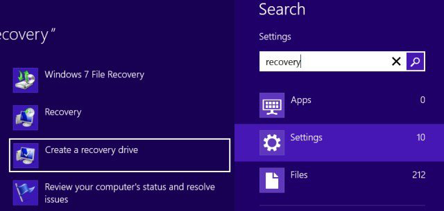 searching for recovery tool under settings