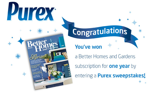 Extreme Couponing Mommy Purex Sweepstakes Emails With Free Better Homes Gardens Subscriptions