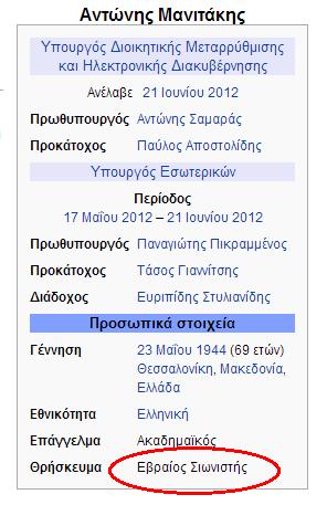 Σκάνδαλο: Μετά την αποκάλυψη ο Μανιτάκης είναι Εβραίος η wikipedia το έσβησε από την σελίδα της