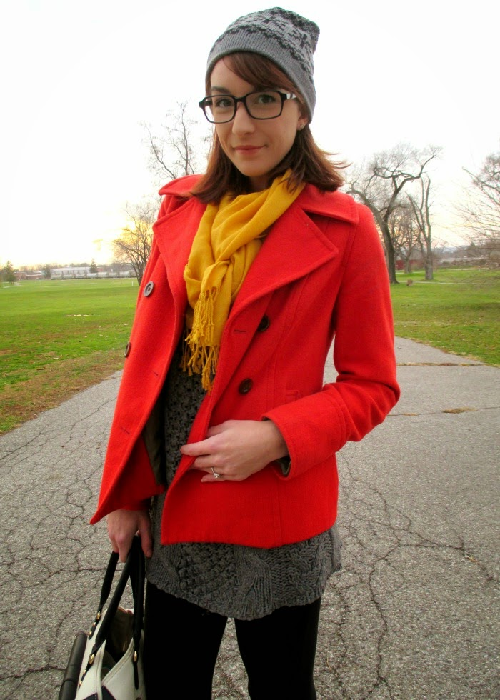 winter layering idea with Peacoat and mustard scarf
