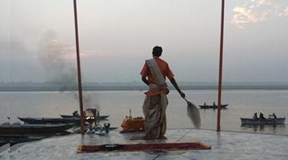 Morning aarti Varanasi India
