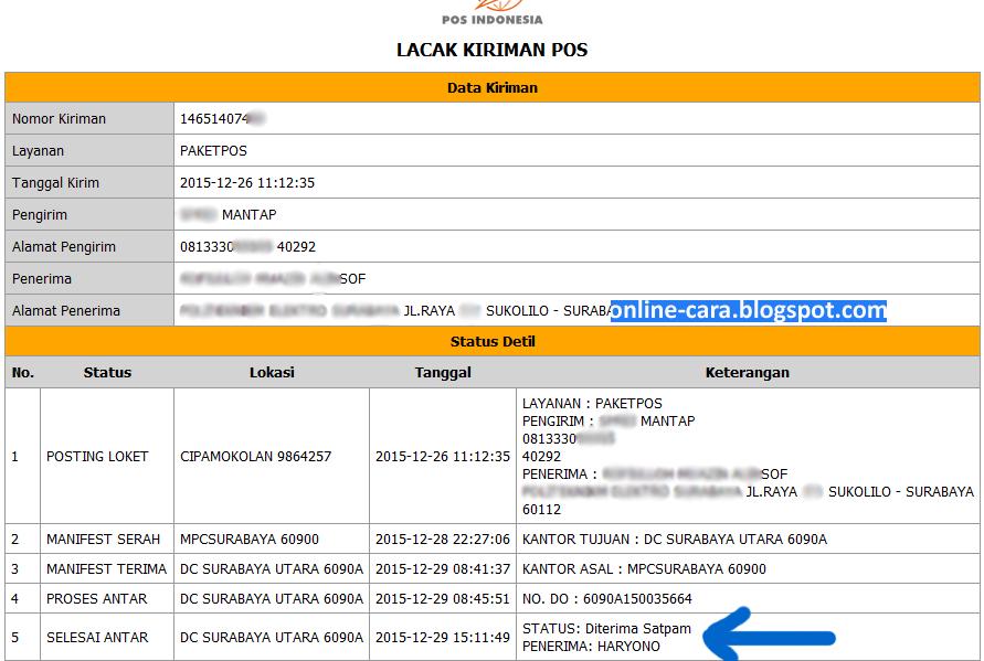 Image Result For Cek Resi Pos Indonesia Lacak Tracking Kiriman Paket Pos Online