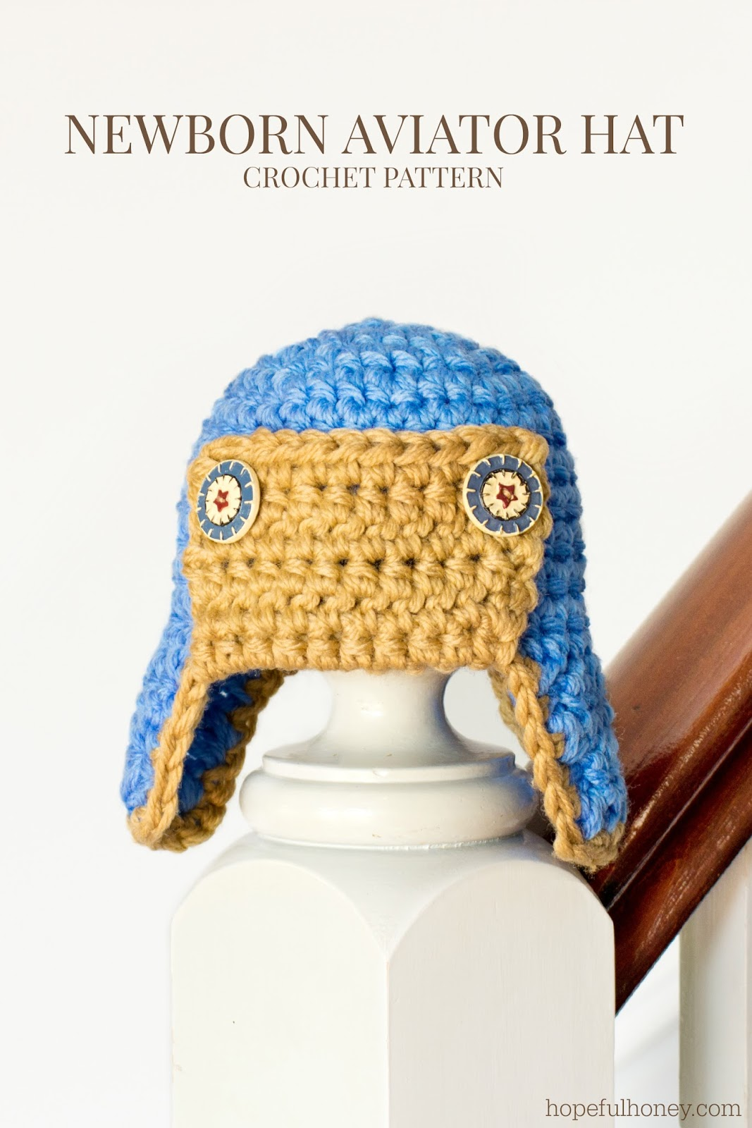 Crochet Newborn Aviator Hat Pattern : Hopeful Honey Craft, Crochet, Create: Newborn Aviator ...