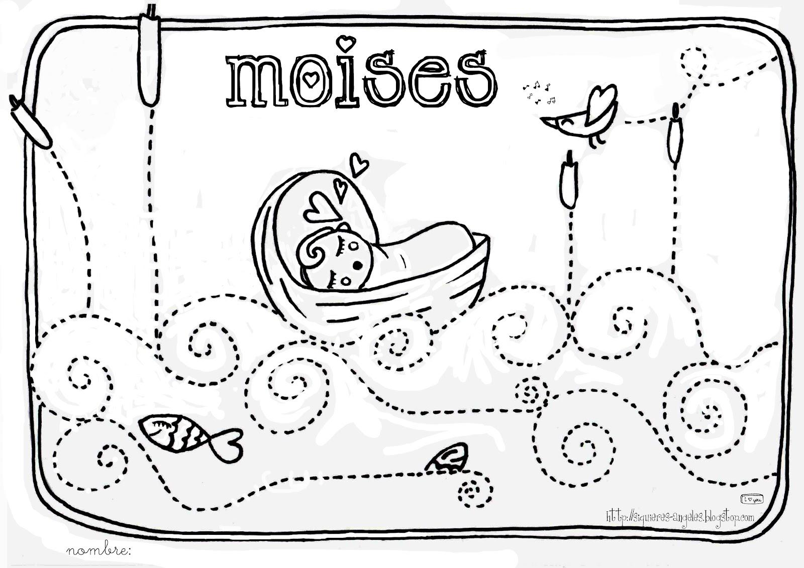 Fantástico Páginas Para Colorear Biblia Para Niños Moses Bosquejo ...