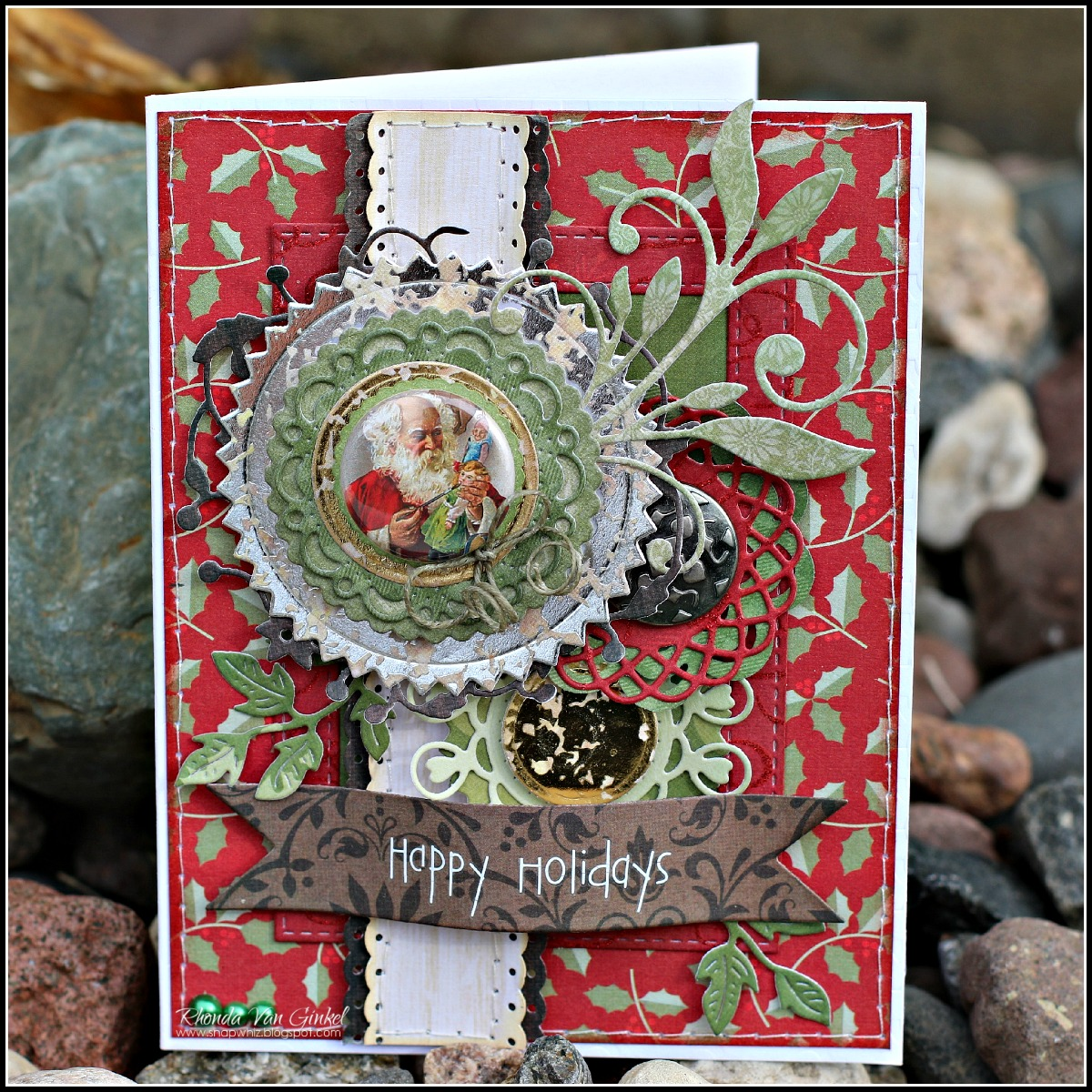 Vintage Happy Holidays card designed for DCWV by Rhonda Van Ginkel