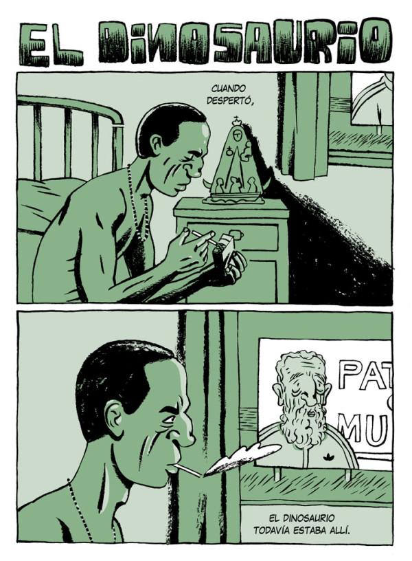 versión ilustrada de El dinosaurio de Augusto Monterroso