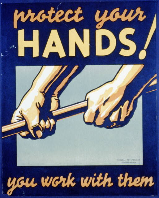federal art project, art, wpa, hands, vintage, vintage posters, free download, graphic design, retro prints, classic posters, Protect Your Hands! You Work with Them - Federal Art Project - Vintage Poster