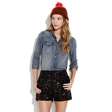 madewell sequin shorts