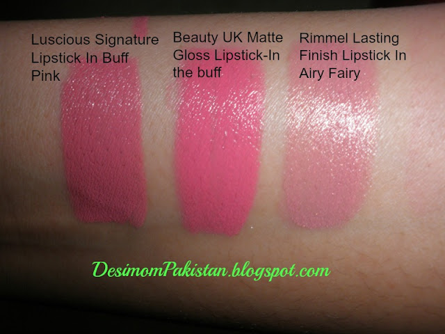 swatch in flash  Luscious Signature lipstick 03 buff pink,Beauty Uk In the buff,Rimmel Long   Lasting Lipstiack 070 Airy Fairy.