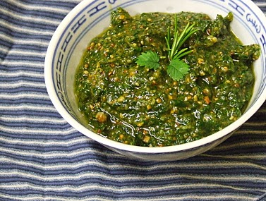 salad burnet pesto in bowl