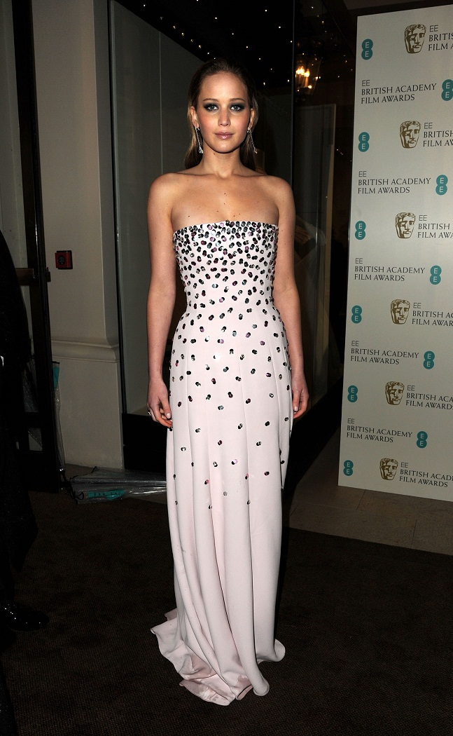 Jennifer Lawrence wears strapless white gown at the EE British Academy Film Awards 2013