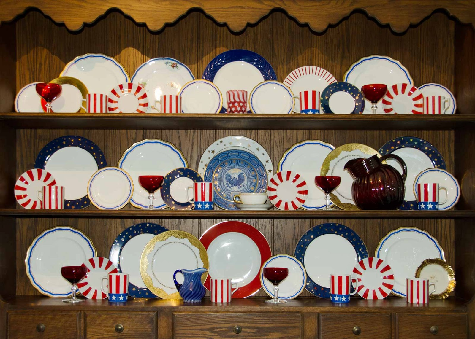 Hutch with vintage china porcelain plates