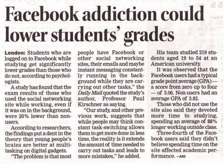 facebook addiction study A study on the negative effects of social networking sites such as facebook among  participants who accessed facebook one or more times during the study period had lower grade point averages furthermore, junco (2011) discovered that sharing links and checking up with friends on  years the main discussion issue was the addiction to.