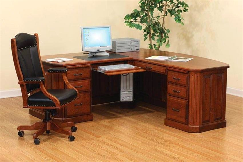 Wooden Corner Home Office Desk