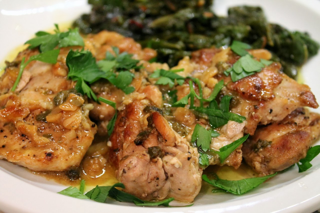 Cook In / Dine Out: Garlicky Chicken Thighs with Lemon-Anchovy Sauce