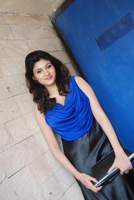 oviya spicy in blue dress for azhagan azhagi audio launch cute stills