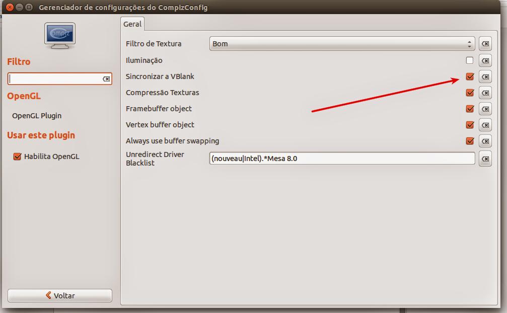 Configure o OpenGL no Compiz