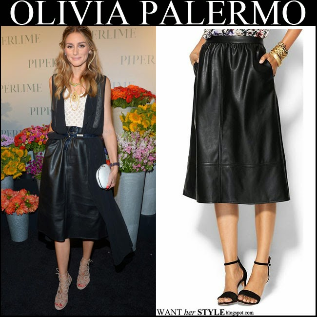 Olivia Palermo in black leather midi skirt by Piperlime with beige cutout sandals by Aquazzura September 5 2014 want her style