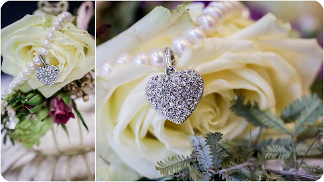 Bride's jewellery pearl and crystal heart necklace