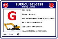 G Sınıfı Sürücü Belgesi Ehliyet