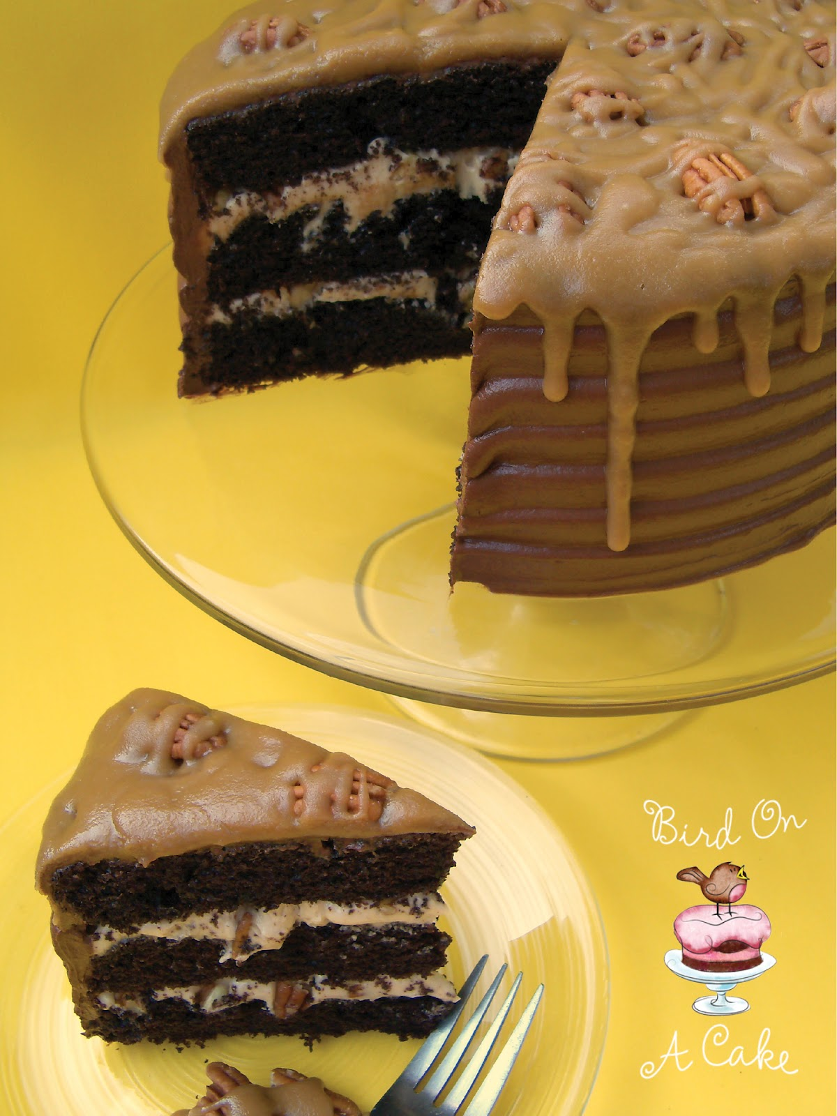 Bird On A Cake: Caramel Pecan Chocolate Cake
