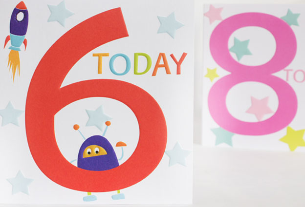 robot and rocket age six 6 today boy card eight today pink greeting cards designers Liz and Pip