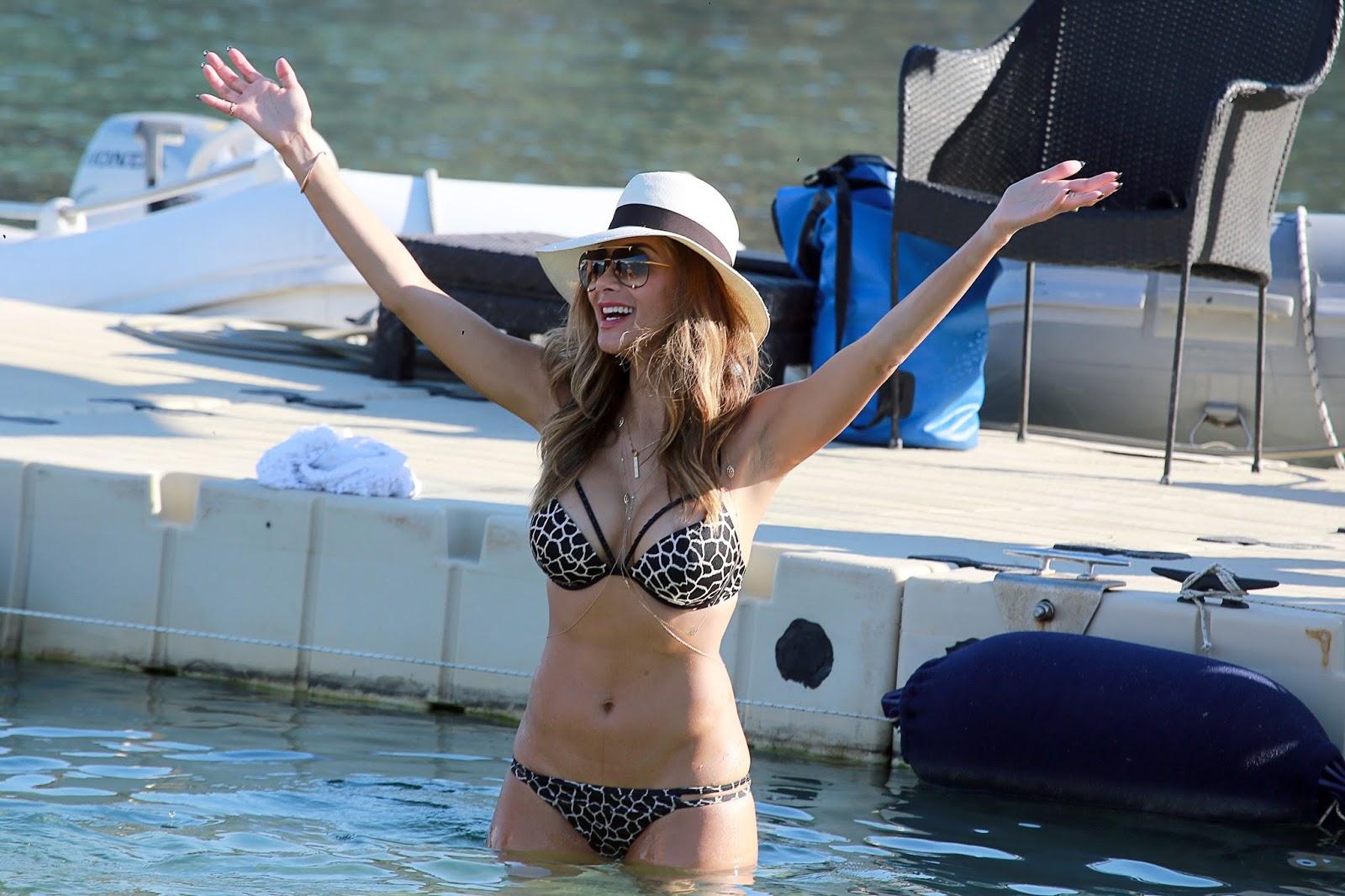 Nicole Scherzinger flaunts a Victoria's Secret bikini in Mykonos