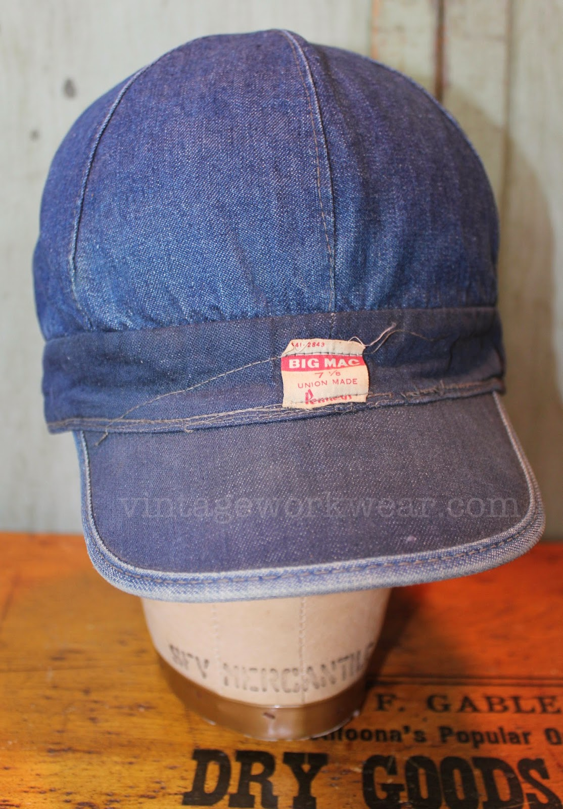 Vintage workwear the variation of fading seen on the different types of denim used to construct this cap result in an almost two tone appearance pronofoot35fo Gallery