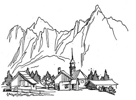 Dibujos para imprimir y colorear: Montañas para colorear