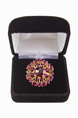 Cluster Ring with Garnets January's Birthstone