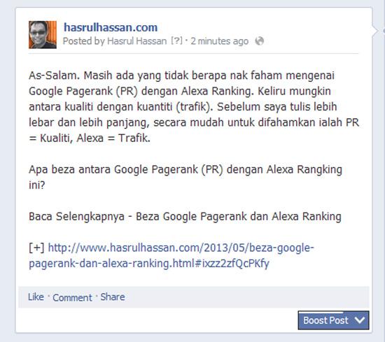 Panduan Blogger Blogspot - Tips Trafik Menerusi Fanpage - SERP